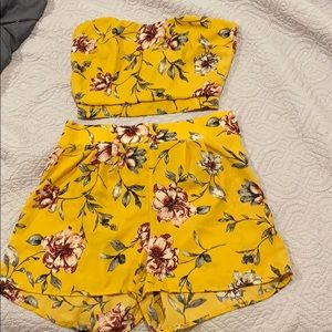 Floral strapless two piece set
